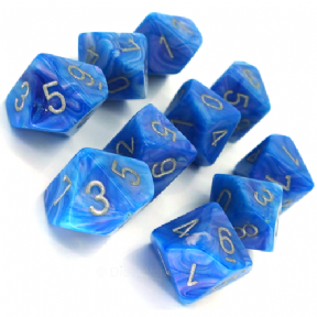 Blue & Silver Mother of  Pearl D10 Ten Sided Dice Set